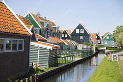 Old fishing green cottages on the island of Marken Royalty Free Stock Image