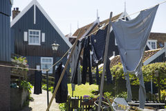 Old fishing green cottages on the island of Marken Stock Photos