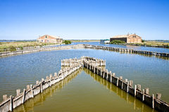 Old fishing home in the Comacchio's valleys Royalty Free Stock Photography