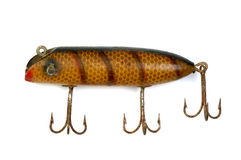 Old Fishing Lure 3. Close-Up of old large mouth bass fishing lure on white Royalty Free Stock Photo