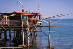 Old fishing machine - trabocco. The trabucco or trabocco is an old fishing machine typical of the coast of Abruzzi region, Italy, and also of the coast of Stock Image