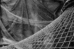 Old fishing nets. Drying of old fishing nets in Leba, Poland stock photography