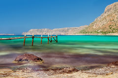 Old fishing pier. Balos, Crete. Royalty Free Stock Photography