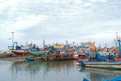 Old fishing port with lot of boats Royalty Free Stock Images