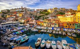 Old fishing port in Marseilles, Provence, France. Traditional fishing harbor Vallon des Auffes with picturesque houses and boats, Marseilles, France Royalty Free Stock Photography