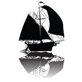 Old fishing  ship. Fabulous impossible fishing ship, vector art Stock Photography