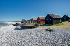 Old fishing village in the Baltic sea. Helgumannens fishing village on Faro island in the Baltic sea Royalty Free Stock Photo