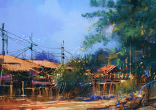 Old fishing village,landscape painting Royalty Free Stock Photography