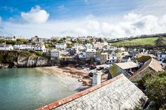 Old fishing village, landscape. Port Isaac, the little village on the sea in Cornwal stock photo