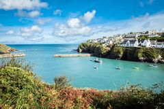 Old fishing village, landscape. Port Isaac, the little village on the sea in Cornwall royalty free stock photos