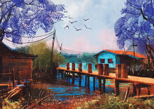 Free Old Fishing Village,oil Painting Style Stock Photos - 67980753
