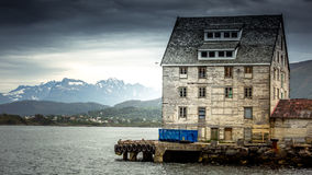 An old fishing warehouse on the ocean Royalty Free Stock Image