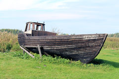 Old fishing wood boat Stock Photo