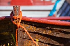 Old fishing wooden rowboat Royalty Free Stock Photos