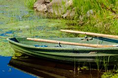 Old fishing wooden rowboat Stock Photo