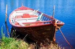 Old fishing wooden rowboat Stock Photo