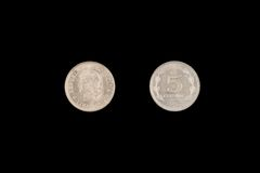 An Old Five Centavos Coin From Argentina Royalty Free Stock Image