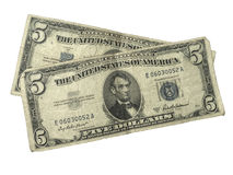 Old Five Dollar Silver Certificates Royalty Free Stock Images