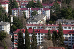 Old five-story houses in Sochi, Russia Royalty Free Stock Image