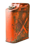 An old five US gallon gas can. Gas can, sometimes called a jerry can. isolated with clipping path stock photos