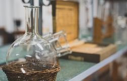 Old flasks. In a chemical laboratory royalty free stock photo