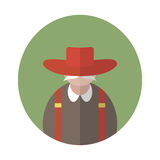 Old flat man stock illustration