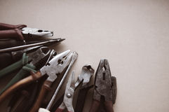 Old flat-nose pliers Stock Image