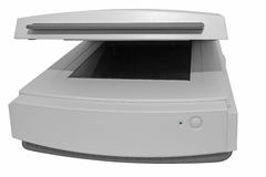 Old flat scanner isolated on white Royalty Free Stock Images