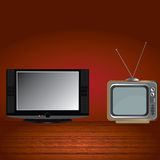 Old and flat tv. Royalty Free Stock Images