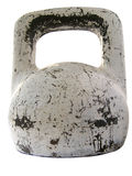 Old flawed metallic weight. Old heavy-athletic weight with lots of flaws and blotches, isolated, path record provided stock images