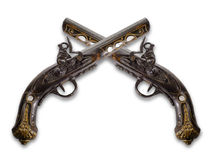 Old flintlock pistols royalty free stock photos
