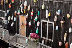 Old Floats For Lobster On The Wall Royalty Free Stock Photography