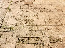 Old floor. Made with travertine slabs in Anagni, Italy royalty free stock photos