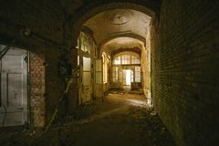 An old floor with open doors in an abandoned places. At beelitz heilstätten royalty free stock photography