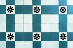 Old floor tiles, beautiful ornament. Blue. royalty free stock photography