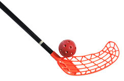 Old floorball stick and ball. On the white background stock photos