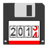 Old floppy disc for computer. Data storage with 2014 New Year counter isolated on white background. Vector illustration royalty free illustration