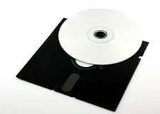 Old floppy disk and CD-ROM Stock Image