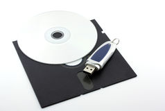 Old floppy disk, CD-ROM and USB-memory Stock Image