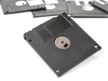 Old floppy disks for computer on the white. Royalty Free Stock Photography