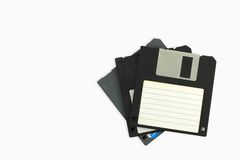 Old Floppy disks i. Solated on white background Royalty Free Stock Image