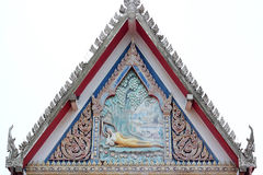 Old floral, ceramic tile patterns of gable apex architecture. In thailand temple. In Thailand public domain or treasure of Buddhism. no copyright and no name of royalty free stock images