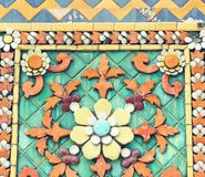 Old floral, ceramic tile patterns. At Temple of Wat Pho Bangkok, Thailand , vintage tone stock photo