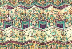 Old floral, ceramic tile patterns. At Temple of Wat Pho Bangkok, Thailand , vintage tone stock photography