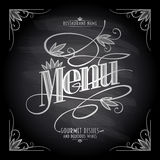 Old floral chalkboard restaurant menu design Royalty Free Stock Image