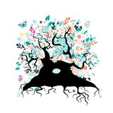 Old floral tree with roots for your design Royalty Free Stock Image