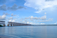 The old Florida East Coast Railway Pratt Truss bridge spanning b royalty free stock images