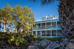 Old Florida style southern house on the shore of intercoastal in Florida Stock Images