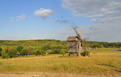 The old flour-mill on the valley. This landscape was shooted in Pyrohovo museum near the Kyiv city. Ukraine. 2012 Stock Photography