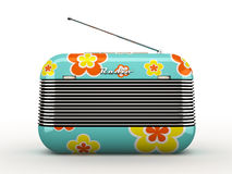 Old flovers pattern vintage retro style radio receiver isolated Royalty Free Stock Photo